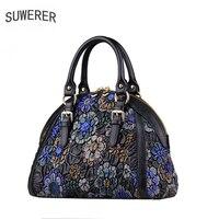 SUWERER Top quality Genuine Leather woemn handbags real cowhide bag luxury handbags women bags designer luxury handbags