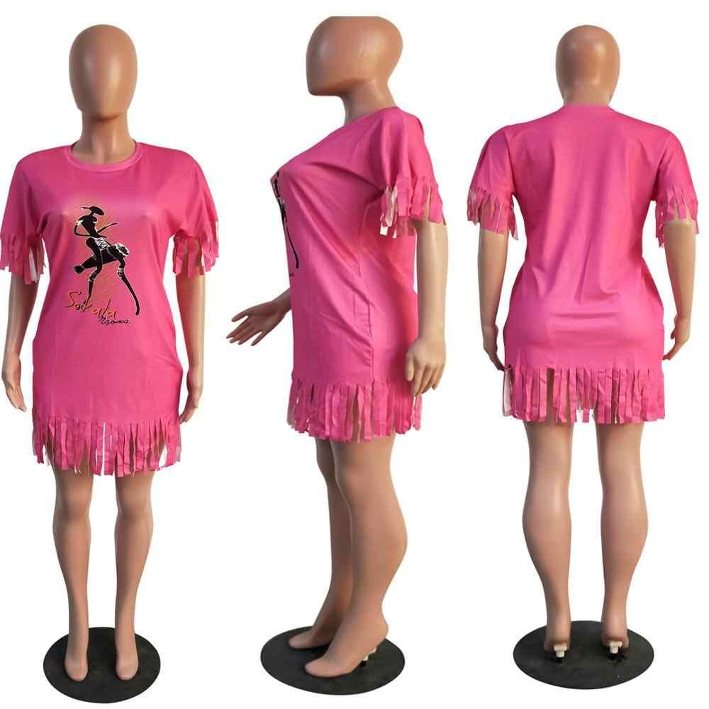 Nuevo mujeres verano manga corta cuello borla de la impresión bajo clásico slim vestido moda streetwear vestidos casual vestidos GLT3366H