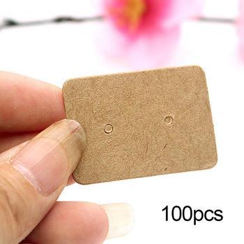100 Uds pendientes de presión de papel Kraft, soporte de joyería Etiqueta...