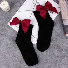 Women Cute Cotton Short Socks With Big Bow Harajuku Solid Casual Female High Heel Socks Sweet BowKnot Trendy Ladies Funny Sox(China)