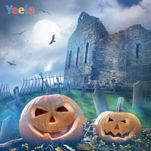 Yeele Halloween Backdrop Castle Pumpkin Lantern Tombstone Night Custom Vinyl Photography Background For Photo Studio Photocall