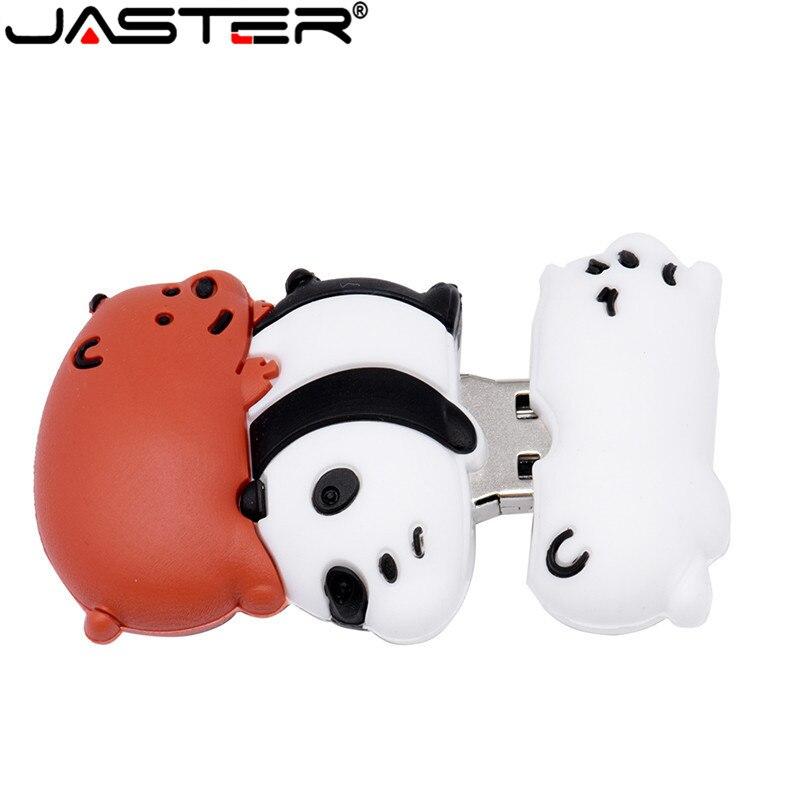 JASTER Lvely Panda Pen Drive  Usb 2.0 Flash Drive Disk Real Capacity Gift Memory Stick Pendrive 4GB 8GB 16GB 32GB 64GB
