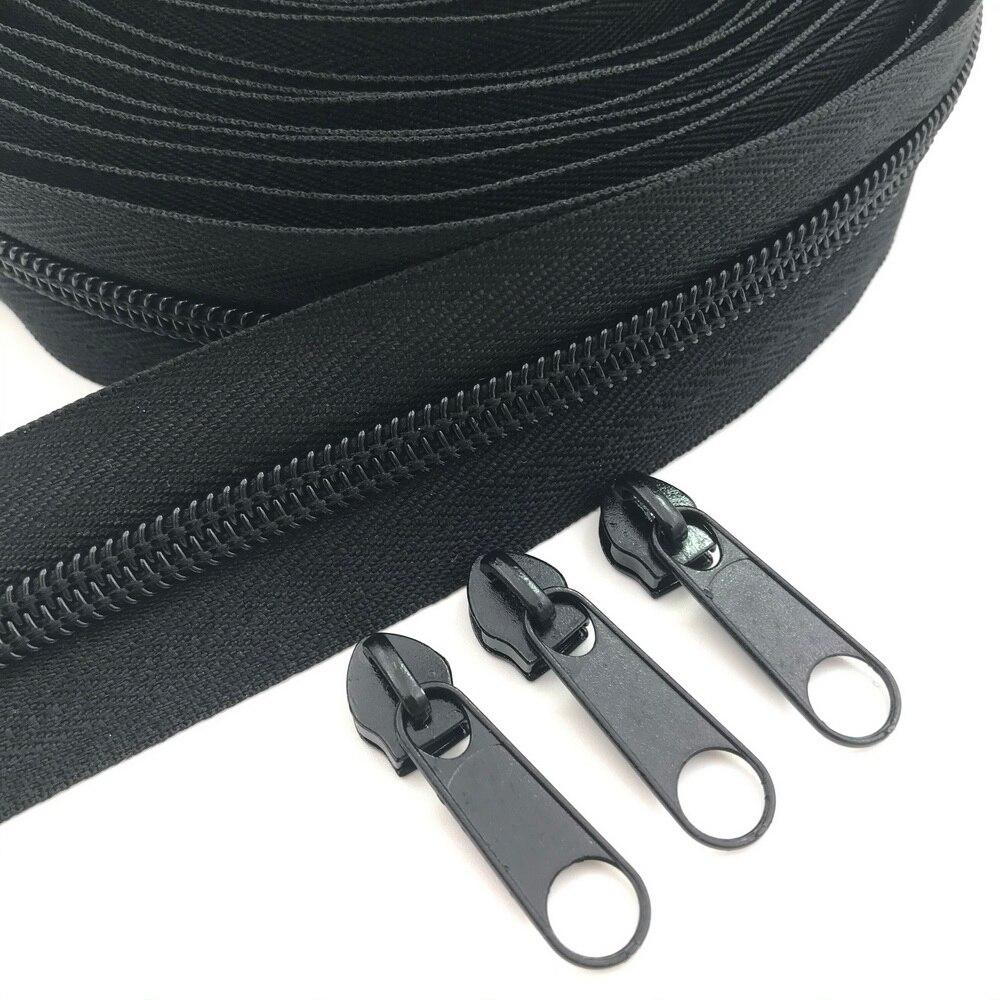 #5 10 метров 24 цвета нейлоновые молнии на дворе с 10 слайдерами для DIY шитья портных ремесел сумок