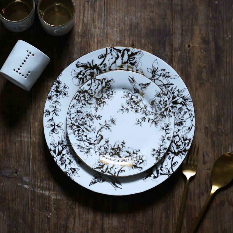 Assiette de dîner en céramique plaquée or | De style américain, assiette de luxe, 10 pouces 27cm, feuille d'oiseau