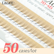 LAGEE 50 cases Russian Volume Eyelash Extensions Premade fans False lashes eyelash bundles bulk Make up tool
