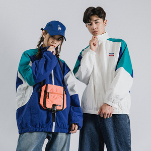 Image 5 - Mens Jacket Hip Hop Streetwear Retro Color Block Patchwork Windbreaker Jacket Autumn 2019 Casual Zipper Track Jacket Coat HipHop