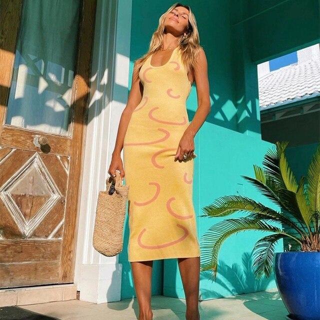 Sexy Knit Dress Women Y2K Yellow Print Bodycon Sleeveless Midi Backless Spaghetti Strap Dresses Summer Beach Robe Vestidos 2021 2