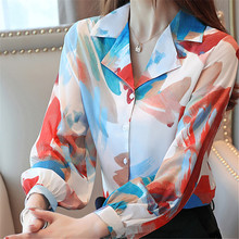 Korean autumn women shirts elegant chiffon blouses woman print blouse womens tops and V neck OL Shirt