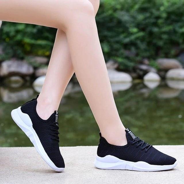حذاء نسائي كاجوال موضة تنفس المشي شبكة حذاء مسطح امرأة بيضاء أحذية رياضية النساء رياضة Feminino رياضة أحذية رياضية A3094 5