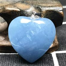 Natural Blue Aquamarine Pendant For Women Man Crystal 925 Silver 23x10mm Heart Shape Beads Stone Necklace Pendant Jewelry AAAAA