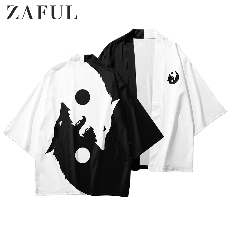 ZAFUL Men Shirts Roaring Moon Wolf Print Open Front Kimono Cardigan Three Quarter Sleeve Animal Beach Halloween Casual Shirts