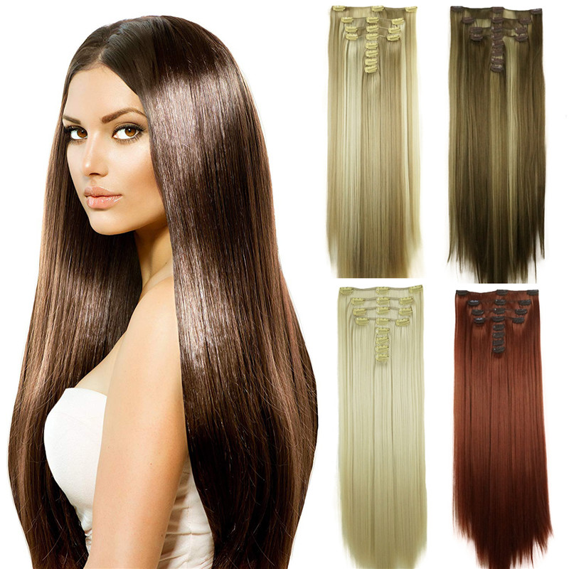 StrongBeauty 28inch Long Straight Full Head Synthetic Clip in Hair Extensions 8pcs 300g COLOUR CHOICES
