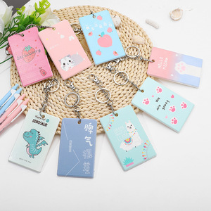 Student Campus Badge Card Holders with Keychain Cute Cartoon Dinosaur/Cat/Avocado Plastic Bus ID Card Protection Cover Women Men
