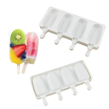 Homemade Ice Cream Molds Food Grade Silicone Ice Lolly Moulds Freezer 4 cells Ice Cream Bar Molds Maker with Popsicle Sticks zhenxing 4 cup ice pop making molds w sticks translucent white green