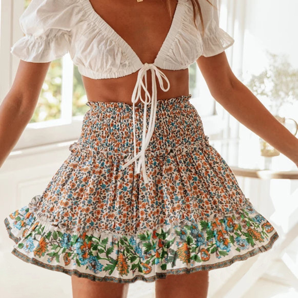 Women Summer Mini Skirt Casual Ruffles Elastic High Waist Floral Print Boho Beach Holiday Short Skirts