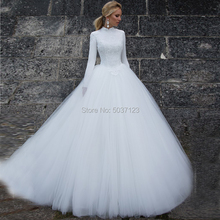Muslim Wedding Dresses with Long Sleeves A Line High Neck Zipper Cap Sleeves Vestido De Noiva Lace Appliques Tulle Bridal Gowns