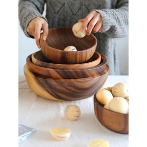 Wooden Bowl Fruit-Plate Japanese-Style-Basin Rice-Ramen Acacia Natural Tableware Household
