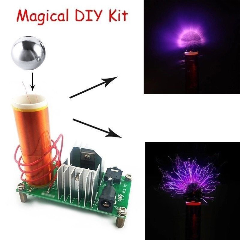 High Quality Kit Tesla Coil Kit 2A 15W DIY DC15-24V 3.5mm Power Mini Plasma Electronics Kit New DIY Tesla Coil Kit