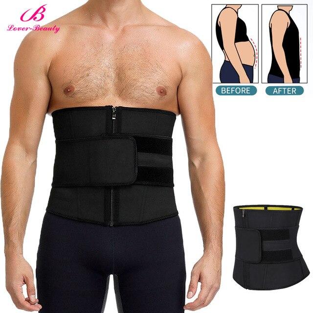 Lover-Beauty Men Waist Trainer Slimming Belt Latex Neoprene Two in One Body Shaper Cincher Tummy Trimmer Shapewear Fitness Strap