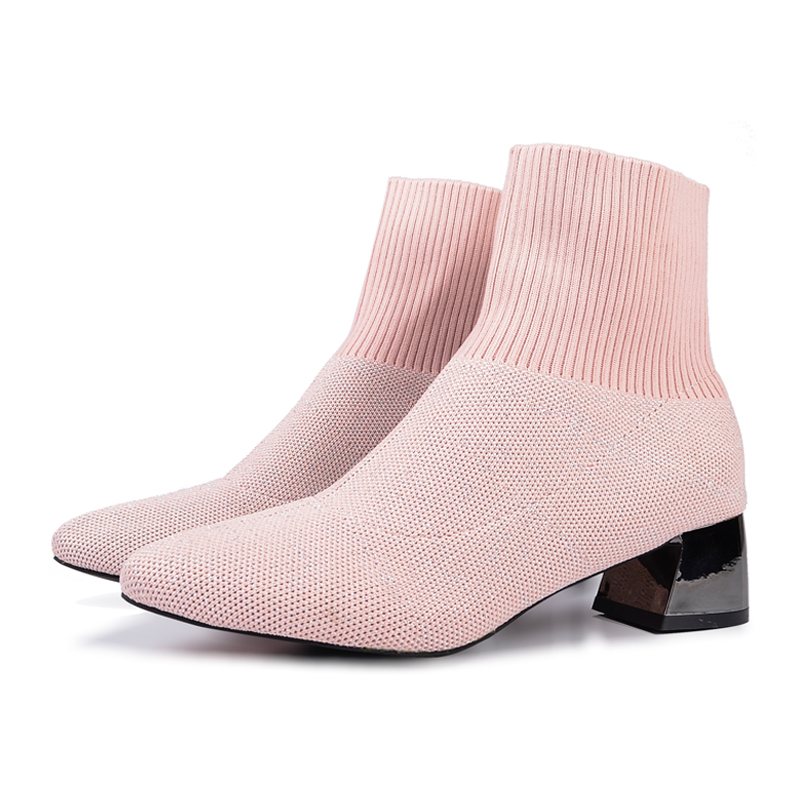Black pink socks boots Knitted Stretch Women s Ankle Boots 2019 Elegant Pointed Toe Mid Heel