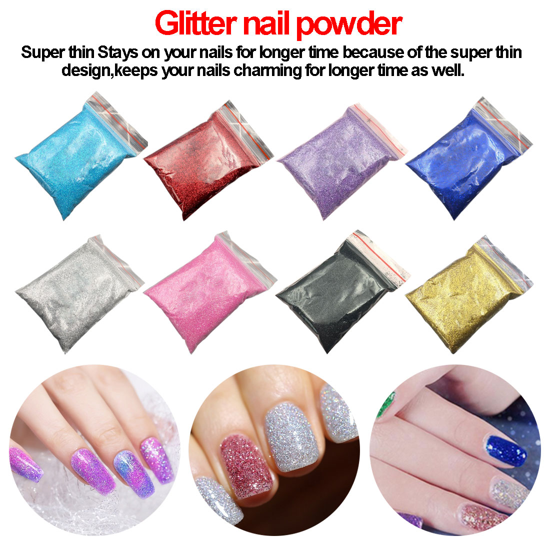 1 Bag Glitter Nail Powder for DIY Nail Art Decoration Purple Blue Silver Nail Pigment Dust Tips Shining Shimmer Manicure