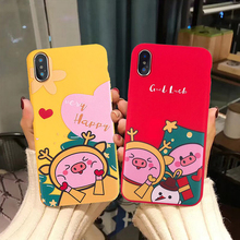 Jamular Christmas cute pig pattern TPU phone case For iPhone X XS Max XR iphone 6 6s 7 8 plus Funny cartoon back cover