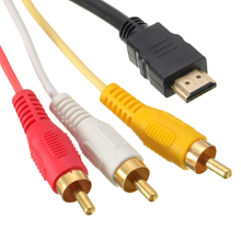 HDMI Male to 3 RCA AV Audio Video Cable Adapter 5FT HDMI to