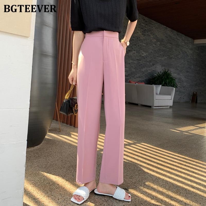 BGTEEVER Office Ladies Straight Suit Pants Casual High Waist Loose Pants Women 2020 Elegant Summer Trousers pantalon femme