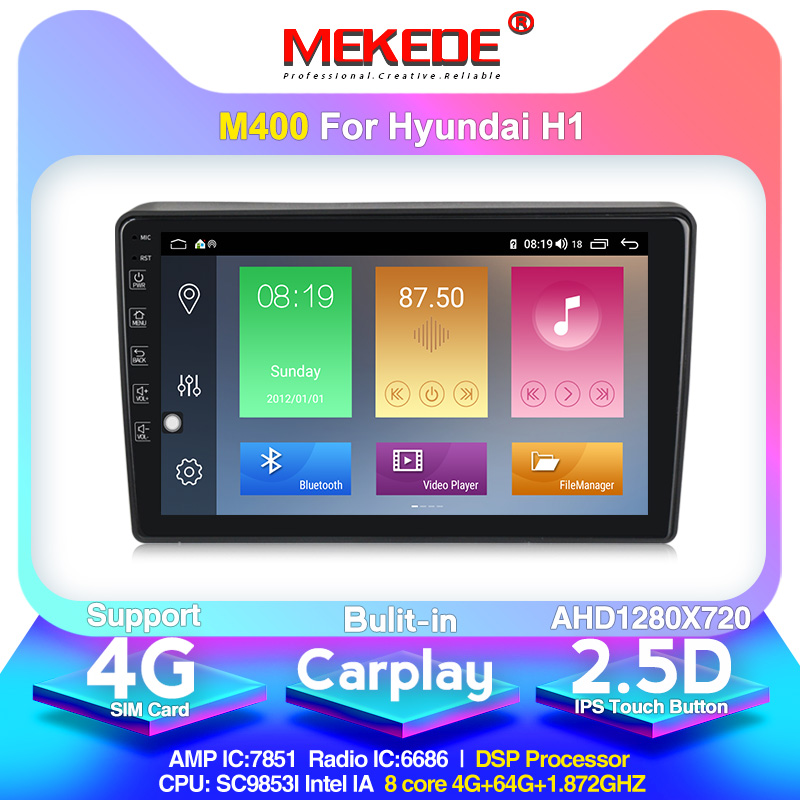 MEKEDE M400 Android 10.0 4+64g Car Multimedia DVD player for <font><b>Hyundai</b></font> H1 <font><b>Grand</b></font> Starex 2007-2015 Radio audio WIFI <font><b>GPS</b></font> image