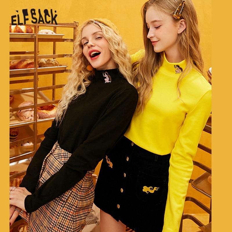 ELFSACK Angel Embroideried Turtleneck Korean Style T Shirt Women Tops 2019 Autumn Fashion Cute Office Ladies Tee Shirts