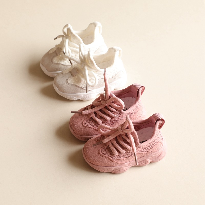 2020 New Genuine Leather Mesh Baby Fashion Sneakers Infant Toddler First Walkers Children Casual Shoes Unisex Pink Black White