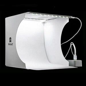 Image 1 - ミニ折りたたみ写真スタジオソフトボックスライトソフトボックスの背景のキット写真一眼レフカメラ用 2 led パネル