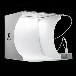 Image 1 - Mini Vouwen Fotografie Studio Soft Box Lightbox Softbox Achtergrond Kit Photo Studio Light Box 2 Led Panelen Voor Dslr Camera