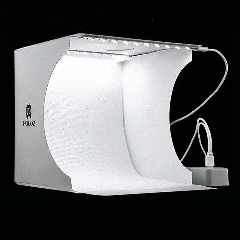 Mini dobrável estúdio de fotografia caixa suave lightbox softbox fundo kit photo studio caixa luz 2 painéis led para câmera dslr