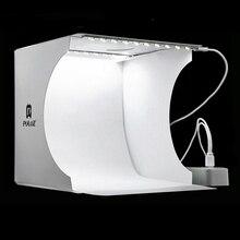 Mini katlanır fotoğraf stüdyosu yumuşak kutu ışık kutusu Softbox arka plan kiti fotoğraf stüdyo ışığı kutusu 2 LED paneller DSLR kamera için