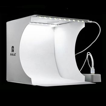 Mini składane Studio fotograficzne miękkie pudełko Lightbox Softbox zestaw tła oświetlenie do studia fotograficznego box 2 panele led na lustrzanka cyfrowa tanie i dobre opinie PULUZ pu5022 24*23*22cm 9 4*9 1*8 7 inch (Unfolded) Non-woven Mini foldable camera photo studio photography Lighting Tent Kit Box