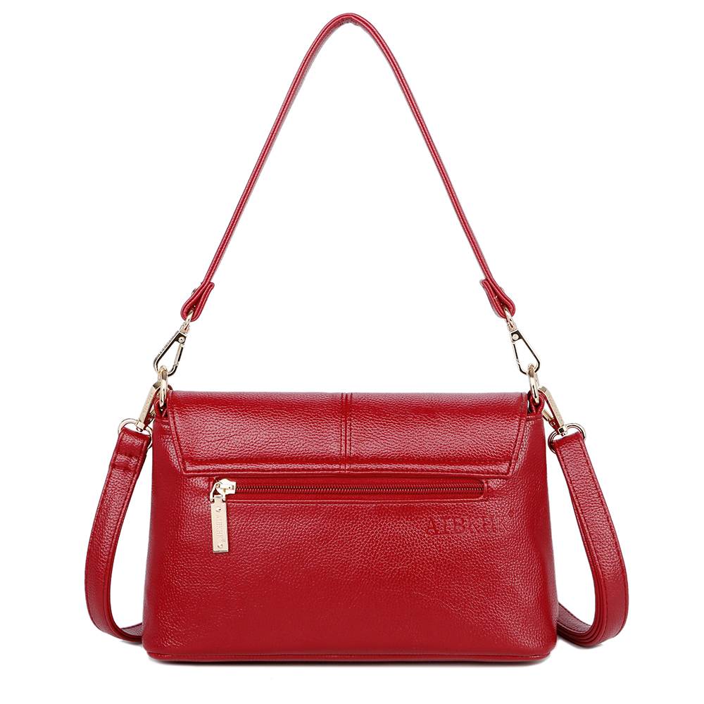 Genuine Leather Litchi lines Bags Women Simple Fashion Style Shoulder Bag Womens Brand Design Handbag women Bags Casual Tote in Shoulder Bags from Luggage Bags