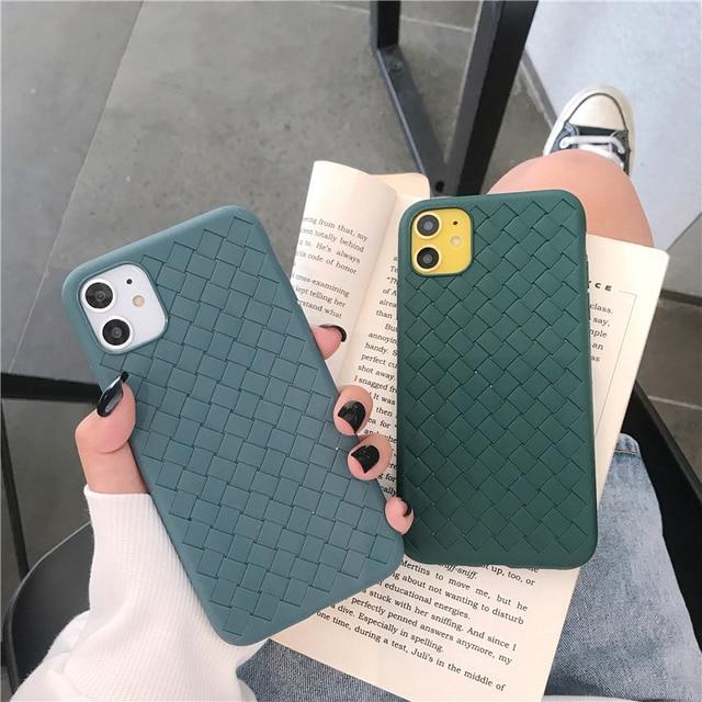 Lüks örgü desen telefon kılıfı için iphone 11 Pro Max 6 6s 7 8 artı arka kapak moda basit yumuşak silikon durumlarda çiftler Funda