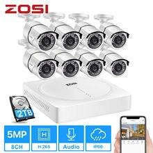 ZOSI-Sistema de seguridad con 8 cámaras de vigilancia para el hogar, kit de videovigilancia de CCTV, grabador DVR HD H.265 de 8 canales, 8 videocámaras de 5MP de 2560x1920, disco duro 2Tb, para exterior e interior