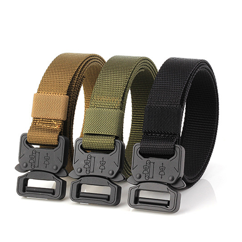 Military Canvas Belt Men Tactical Designer 2.5CM Width Army Belts For Jeans Pants Nylon Belt Black Metal Buckle Thin Waist Belt