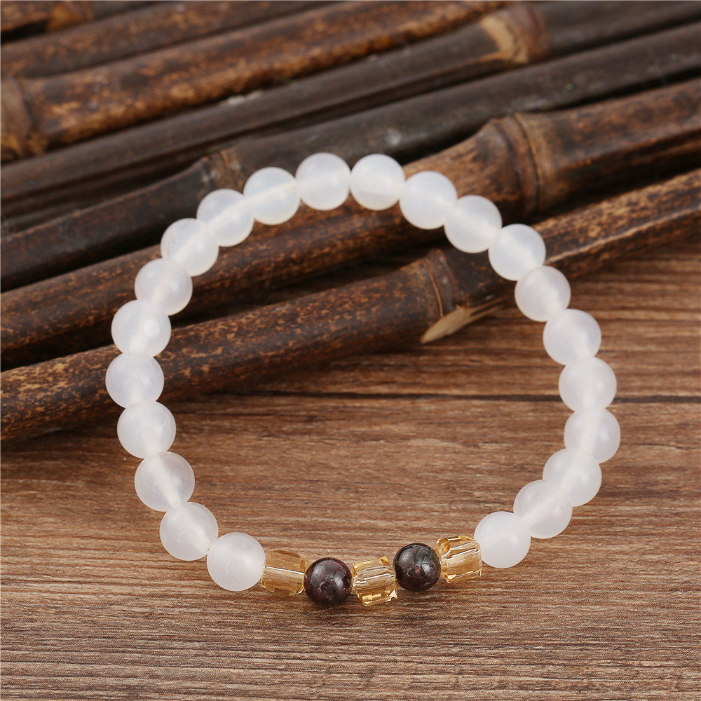7mm Natural White Chalcedony Bracelets & Bangle For Women Jewelry Buddha Elastic Yoga Stone Bead Bracelet Drop Shipping 4