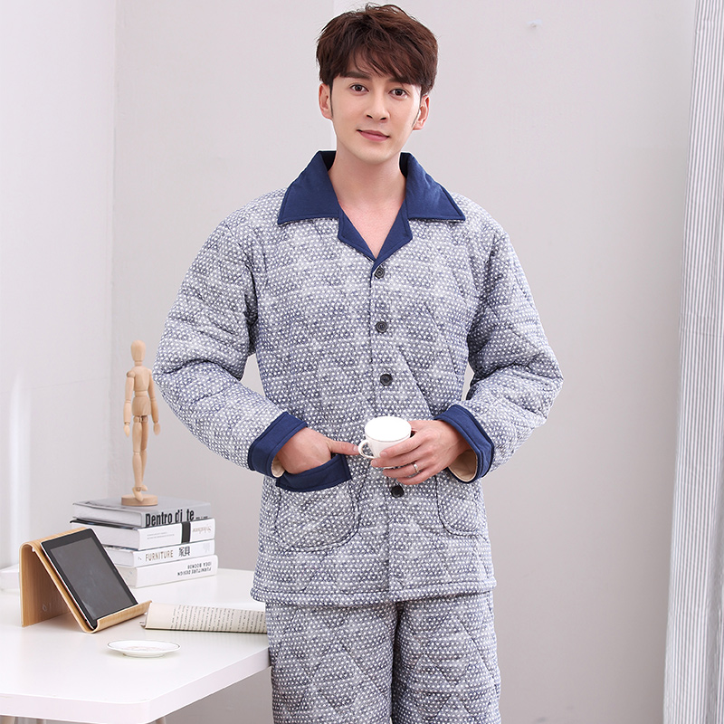 Winter Geometric Patterns Pyjamas Mens Thicken Three-Layers Quilted Tracksuit Plus Size Cotton-Padded Jacket Pajamas Home Suit