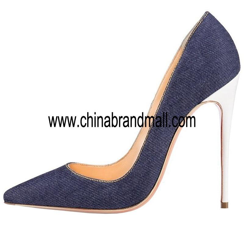 Джинсовые кожаные сандалии; женские босоножки на очень высоком тонком каблуке; пикантные белые туфли на каблуке; большие размеры 35 45; обувь для подиума с острым носком