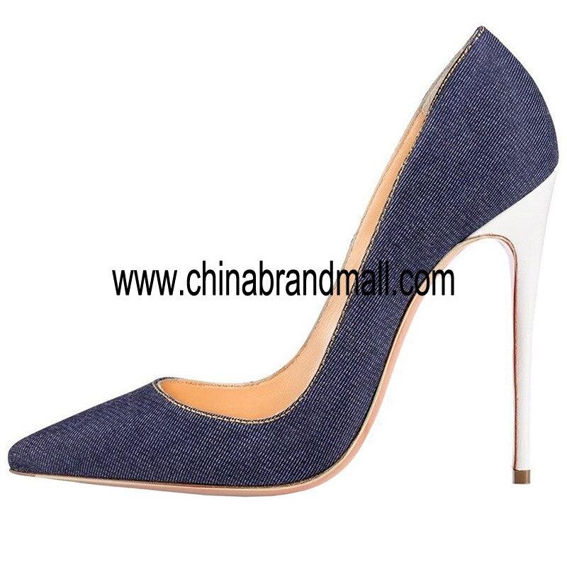 Demin cuir sandale femmes Super haut talon mince talons sandales Sexy blanc talons chaussures grande taille 35 45 bout pointu chaussures de piste
