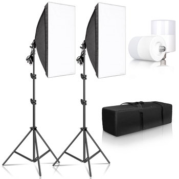 Photo Studio Softbox Lighting Kit,Photography Light Box Kit,Continuous Shooting Light Lamp Soft Box With E27 Base Accessories
