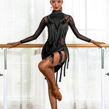 Латинский танец платье женщины черный красный сексуальный сетка рукав нерегулярные платья кисточкой сплит платья для взрослых сальса самба ча ча соревнования носить