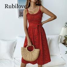 Rubilove Polka Dot Print Sundress 2019 Strapless Ruffle Sashes Tied Bow A-Line Dress Women Button Backless Summer Beach Dresses allover cartoon print bow tied dress