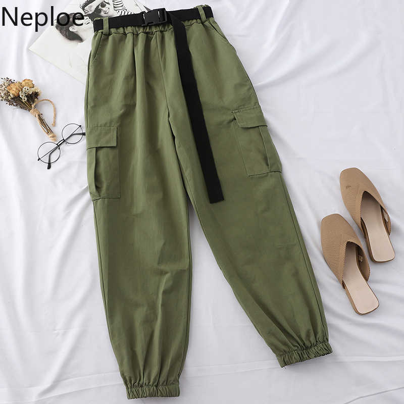 Neploe harajuku streetwear carga calças femininas casuais joggers sweatpants cintura alta solta calças femininas coreano pantalon cinto