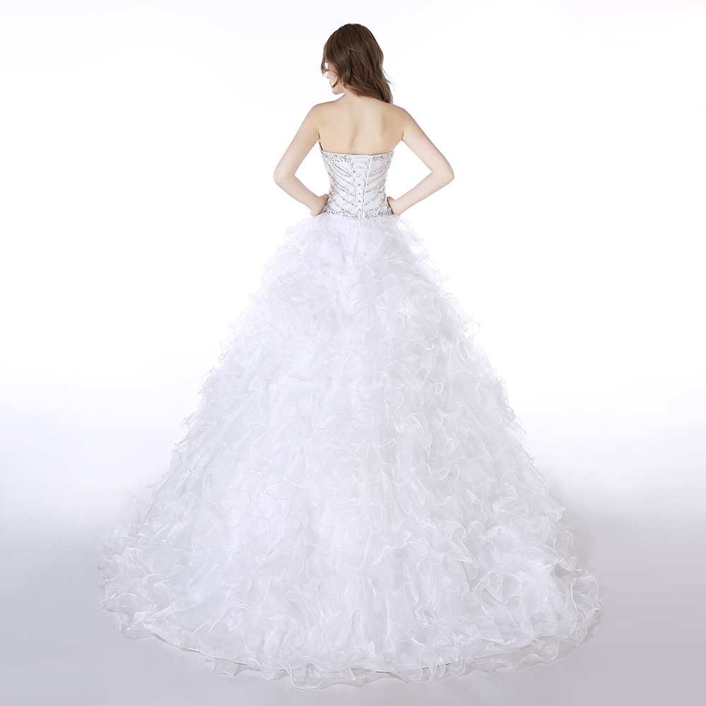 vestidos de 15 White Organza Beading Quinceanera Dress Ruched Ball Gown vestido de debutante Sweetheart suknie balowe