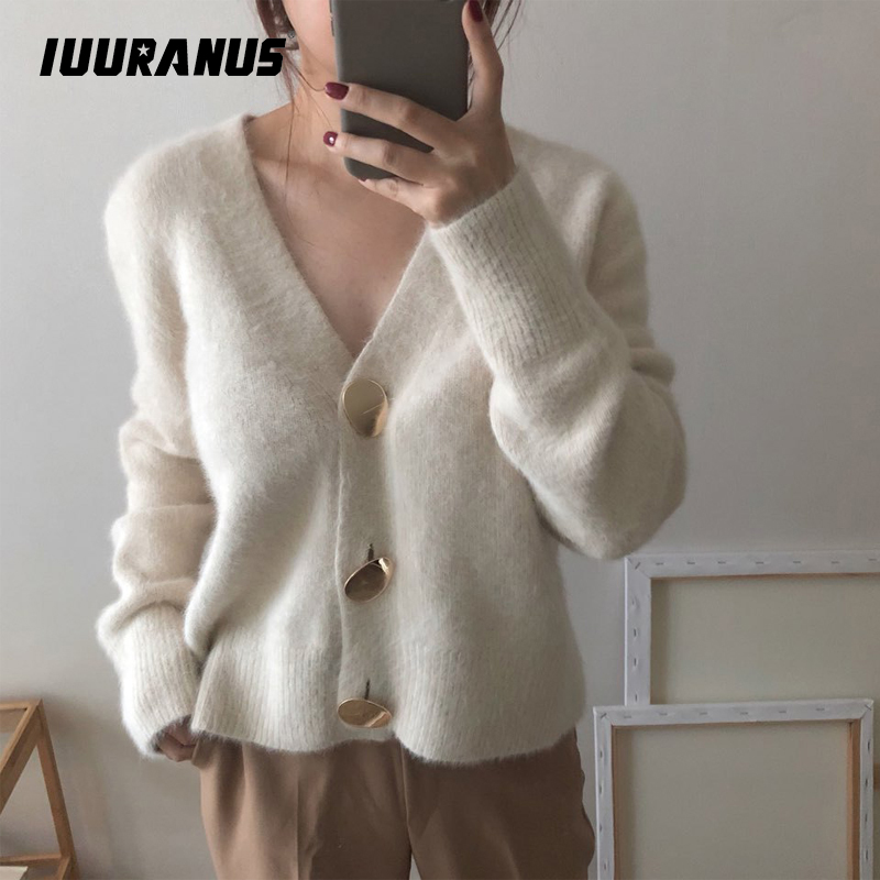 IUURANUS Solid Elegant Women Cardigans Casual V-Neck Knitted Sweaters Slim Autumn Winter Clothes jersey mujer invierno